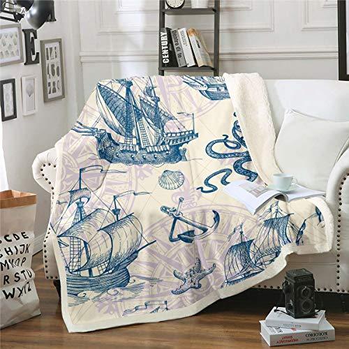 Nautical Fleece Throw Blanket