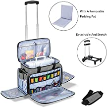 Luxja Sewing Machine Case with Detachable Trolley Dolly, Rolling Sewing Machine Tote with Removable Bottom Pad (Fits for Most Standard Sewing Machines), Gray (Patented Design)