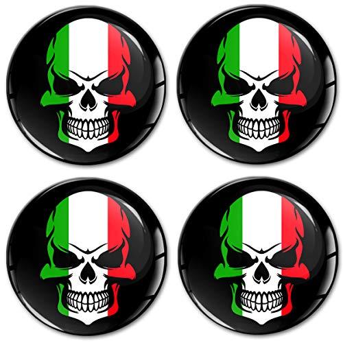 Biomar Labs® 4 x 60mm 3D Adesivi in Silicone per Coprimozzo Cerchione Copricerchi Tappi Ruote Auto Tuning Bandiera Nazionale Italiana Italia Italy A 9060