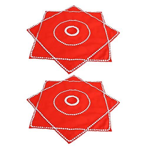 jojofuny 2 Piezas Pañuelo Rojo Toalla de Baile Chino Flor Arte Vintage Escenario Rendimiento Prop Decoración 50X50cm