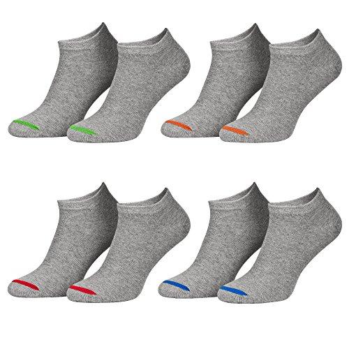 Piarini 43-46 8 Paar Sneaker Socken Sportsocken Baumwolle - Ohne Naht - Kurze Unisex Damen Herren grau 44 45