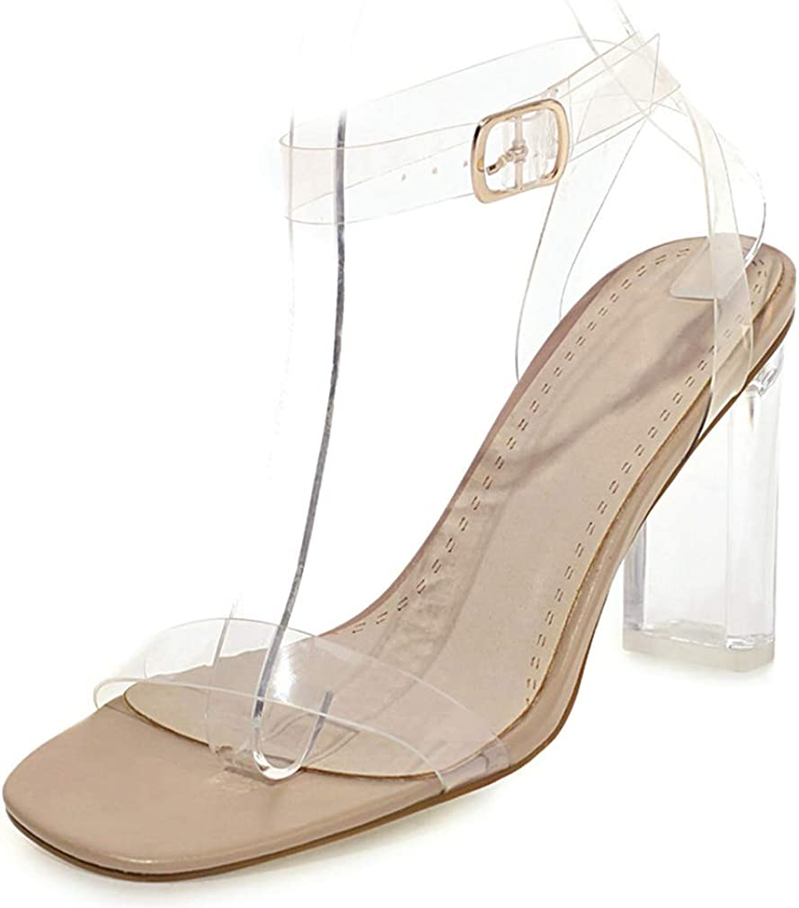 heelchic Women Slip On Transparent Clear Heels Summer Sexy Chunk