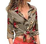 MORCHAN❤Les Femmes de Mode décontractée Automne élégant Manches Longues col V imprimé boutonné Chemise Blouse Tops(FR-42 / CN-L,Vert)
