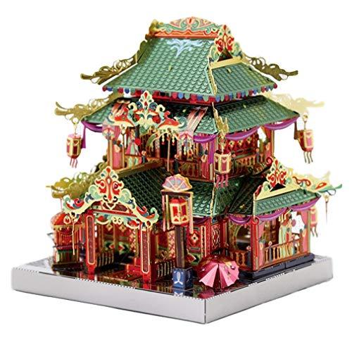 MUANSER Puzzle de Construction de Simulation 3D avec lumière, Puzzle de modèle d'architecture en Bois découpé au Laser, Cadeau pour Adolescents et Adultes,B