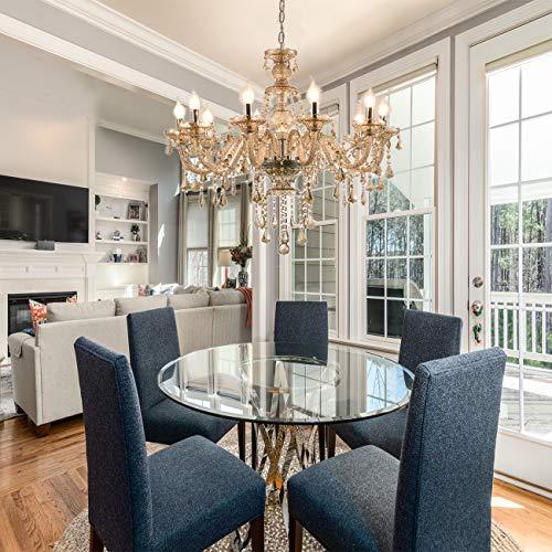 Samger Samger Luxuriöse 10 Arm Kronleuchter K9 Kristallglas Deckenleuchte Pendelleuchte Cognac Farbe für Wohnzimmer Schlafzimmer Flur Eintrag