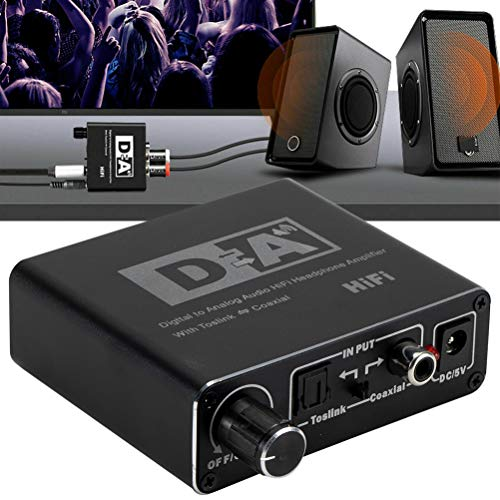 Mumaya Convertidor DAC, convertidor de Audio Digital a analógico actualizado, con Control de Volumen, convertidor de Audio óptico a RCA L/R con Cable óptico