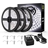 Onforu 49.2ft Waterproof LED Strip Lights, 6000K Cool White IP65 Tape Light, 15M 12V Flexible Ribbon Lights, 2835 LEDs Rope Light for Garden, Patio, Balcony, Party, Wedding, Indoor and Outdoor Decor