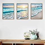conblom set di stampe da parete, quadri moderni spiaggia e mare, 3 pezzi premium poster quadri moderni soggiorno poster abbinati per camera da letto soggio (30 x 40 cm)
