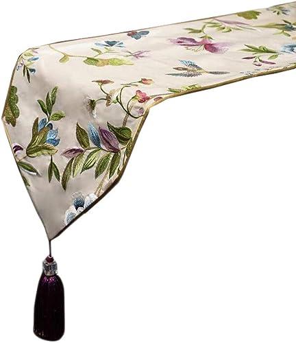 Unbekannt Vogel-Sprache-Blumentisch-Flagge mischte Mode-einfaches nordisches Kaffee-Bett-Hochzeits-Hotel-Bankett 2 Farben 30cm  180cm MUMUJIN (Farbe   Weiß, Größe   180cm)