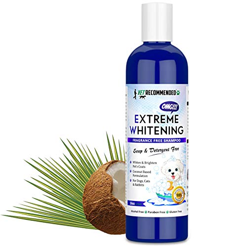Vet Recommended OMG Extreme Dog Whitening Shampoo (16 Oz /473ml) - Coconut Based 100% Safe - Free from Soaps, Detergent, Bleach & Fragrance - Make Your Dog's Coat Clean, Silky and Smooth. Made in USA