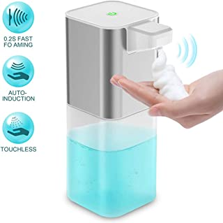 Automatic Foaming Soap Dispenser, 400ML Touchless Intelligent Rechargeable Waterproof Soap Machine for Bathroom Kitchen Home Hospital School Office Restaurant Hotel(Silver)