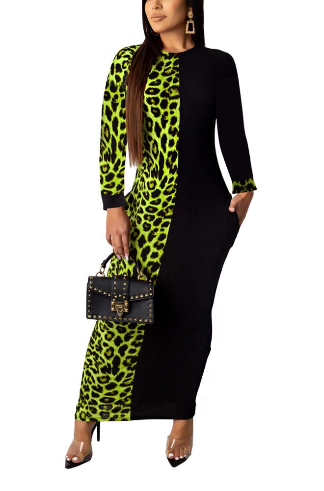 Available at Amazon: Prettyol Women Long Sleeve Leopard Print Pockets Tunic Bodycon Maxi Pencil Dress