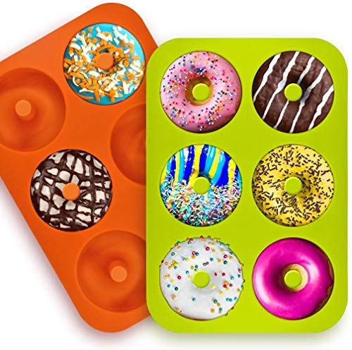 Silikon Donut Formen, 2 Stuck Silikon Donut Backform, Antihaft Donut Backblech für Kuchen Keks Bagels Muffins, Geeignet für Backofen, Mikrowelle
