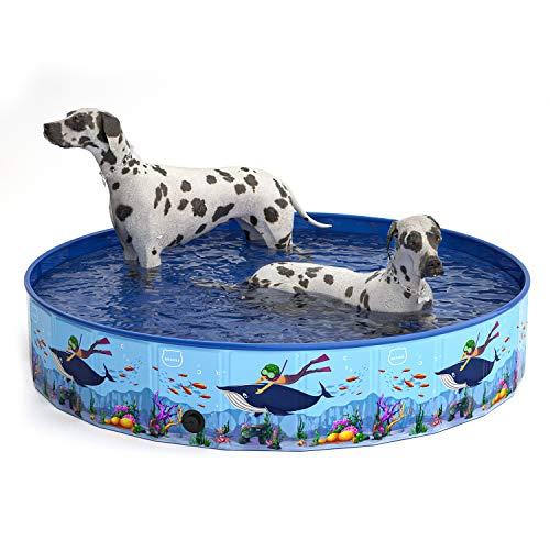 MIAOKE Piscina Perros y Gatos Bañera Plegable, Piscina Plegable para Niños PVC Antideslizante,Desmontables Portatil Regalo para Mascotas, Adecuado para Interior Exterior al Aire Libre (120 x 30CM)