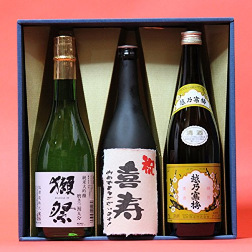 喜寿〔きじゅ〕(77歳)おめでとうございます!日本酒本醸造+獺祭(だっさい)39+越乃寒梅白720ml 3本ギフト箱 茶色クラフト紙ラッピング 祝喜寿のし 飲み比べセット