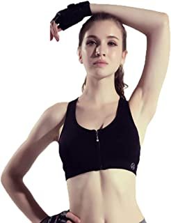 Bra Womens Sports Zipper Yoga Quick-Drying Vest Fitness Shockproof Breathable Underwear (Color : Black, Size : M)