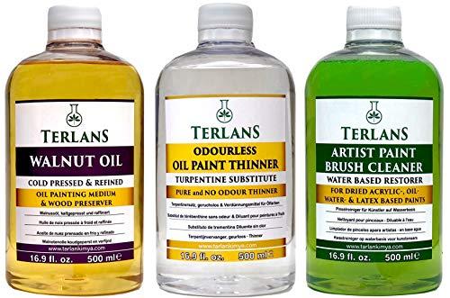 TERLANS Hilfsmittel für die Ölmalerei 3 x 500 ml/Terpentinersatz, komplett geruchlos/Walnussöl/Ölpinselreiniger