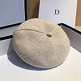 女性のベレー帽 クラシックヴィンテージ軽量スーパーソフトコットンのかぎ針編みビーニーニットベレーだらしない帽子 防寒防水 (Color : White, Size : One Size)