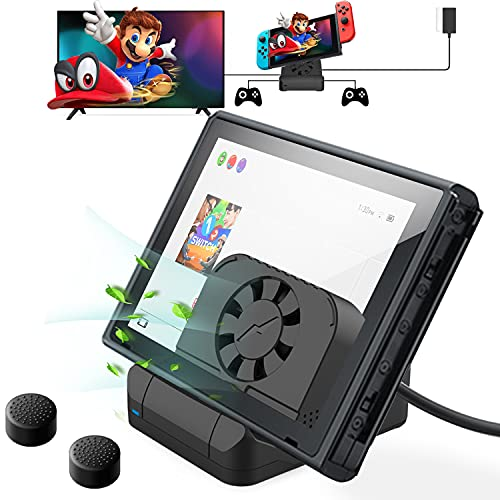 Docking Station for Nintendo Switch, [2021 Upgraded Version] Switch Dock Replacement for Nintendo Switch - Portable Switch TV Dock with 4K HDMI USB 3.0 Port and Cooling Fan