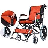 Transporte respetuoso con el peso ligero plegable silla de ruedas manual for adultos y ergonómico Ultra sillas de ruedas manuales, 16 pulgadas Anchura del asiento (Color: Naranja, Tamaño: 16 pulgadas