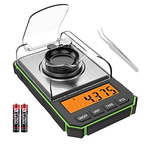ORIA デジタルスケール キッチンスケール 0.001g単位 精密電子はかり 電子スケール 電子天秤 0.006g~50g クッキングスケール 高精度計量器 計量器 コンパクト 計量可能 風袋引き機能 はかり皿 家庭用 miniサイズ(緑色)