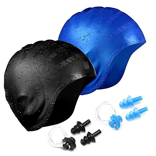 6 in 1 Set Cuffia Piscina - 2 X Cuffia Nuoto, 2 x Tappi Orecchie, 2 x Tappanaso per Piscina - Unisex Cuffie Nuoto Silicone Donna Uomo con Protezione Orecchie 3D per Nuoto, Surf, Vela, Moto d'Acqua