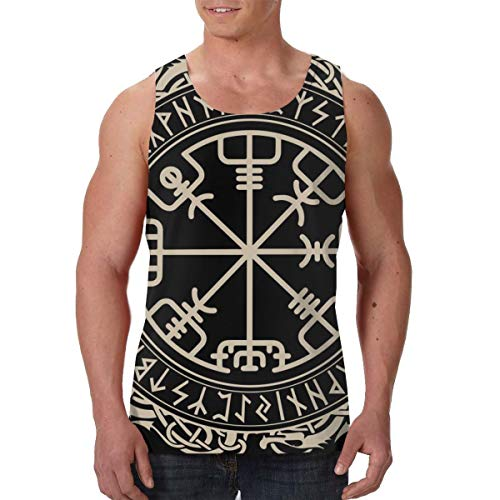 Men's Tank Tops Athletic Undershirt Casual Sleeveless T-Shirt Vest (XXL, Black Celtic Viking Design Magical Runic Compass Vegvisir in The Circle of Norse Runes and Dragons Tattoo Decorative)