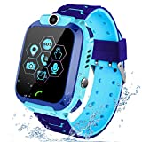 PTHTECHUS Kids Waterproof Smartwatch Phone - Children Touchscreen Watch Position LBS Locator with Call Voice Chat Games Alarm Clock SOS Wristband for Boys Girls Grade Student Gifts (Blue)