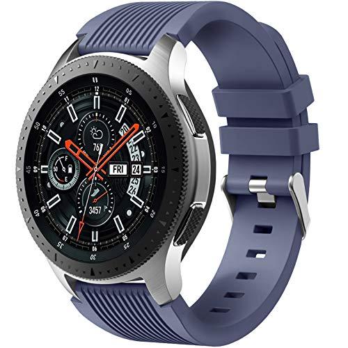 Dirrelo Bracelet Compatible avec Samsung Galaxy Watch 3 45mm/Galaxy Watch 46mm/Huawei GT 2 46mm, 22mm Souple Silicone Sport Remplacement pour Samsung Gear S3 Frontier, Hommes Femmes, Bleu Ardoise