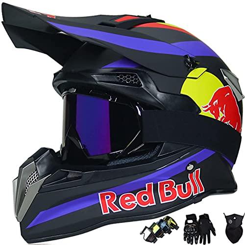 GENGJ Motorrad-Helm, Red Bull Motocross-Helm für Kinder und Erwachsene MTB-Helm integrierter ABS-Gehäuse und poröse Belüftung schneller Verschlussabnehmbarer Futter - Schwarz/Weiß,A,L