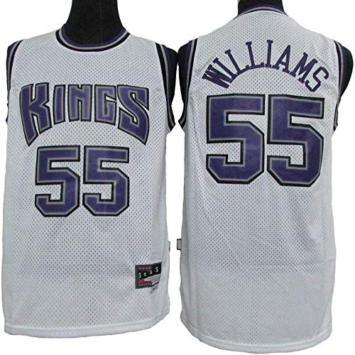 LYY Camisetas De Baloncesto para Hombre, NBA Sacramento Kings # 55 Jason Williams - Chaleco Transpirable Clásico Camiseta Sin Mangas Cómoda Uniformes Tops,Blanco,XL(180~185CM)