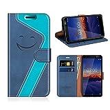 MOBESV Smiley Nokia 3.1 Hülle Leder, Nokia 3.1 Tasche Lederhülle/Wallet Hülle/Ledertasche Handyhülle/Schutzhülle für Nokia 3.1, Dunkel Blau/Aqua