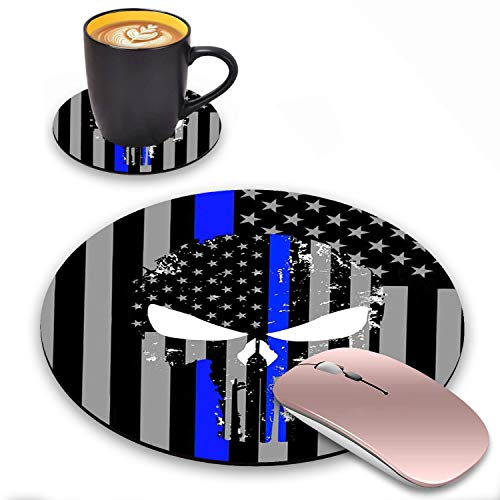 ZOXOHO Round Mouse Pad and Coasters Set, American Flag Thin Blue Line Skull Design Mouse Pad, Non-Slip Rubber Base Mouse Pads for Laptop and Computer, Cute Design Desk Accessories