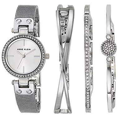 Anne Klein Women's Premium Crystal Accented Silver-Tone Mesh Bracelet Watch and Bangle Set, AK/3389SVST