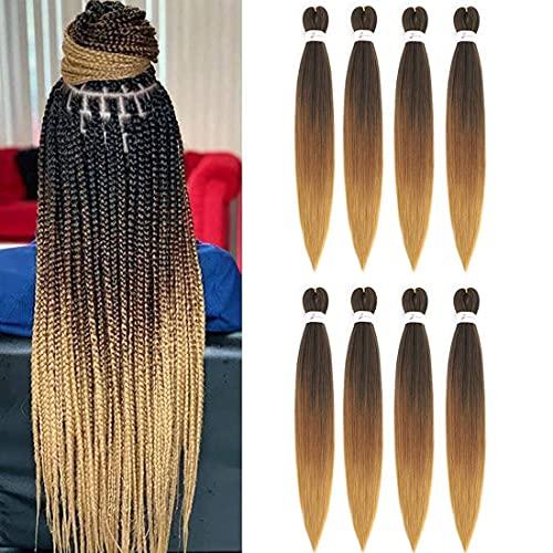 8 Stück vorgestrecktes Flechthaar Professionelles Flechthaar Easy Braids Hair Synthetische Faser Häkeln Flechten Haarverlängerungen(26Inch, 1B/30/27)