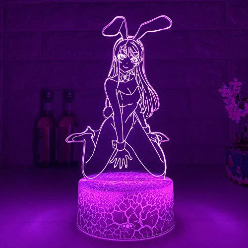 3D Nacht Lampe Illusion Lampe Anime Waifu Mai Sakurajima LED Nachtlicht Schlafzimmer Decor Manga 3D RGB Lichter Geschenk für Freunde Bunny Girl Room Decor Neuheit Lampe ZMSY
