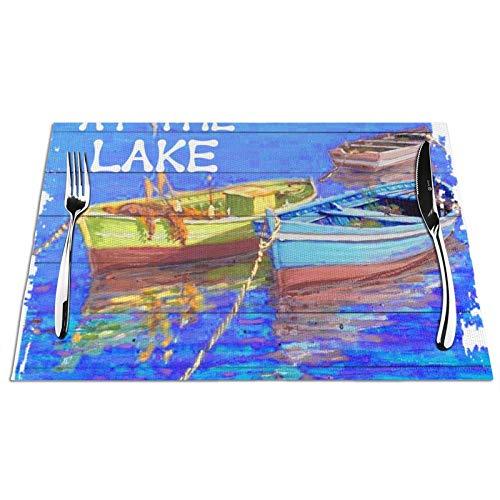 GAHAHA Manteles individuales para mesa de comedor, diseño de barcos en el lago con 4 unidades, antideslizantes, resistentes al calor, para el hogar, la cocina, posavasos