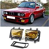 MAD HORNETS Front Bumper Yellow Fog Lights Plastic Lens Kit for 85-93 BMW E30 3-Series Sedan
