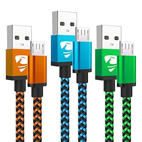 Micro USB Cable Aioneus Fast Android Charging Cord 6FT 3Pack Charging Cable Braided Charger Cord for Samsung Galaxy S7 Edge S6 S5 S2 J7 J7V J5 J3 J3V J2, Tablet, LG, Moto E4 E5 E6, PS4-Micro Phone