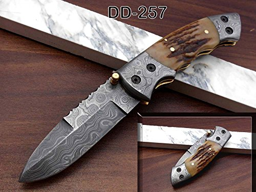 Natural Stag Antler Scale Folding Knife, Hand Forged Damascus Steel Blade Pocket Knife, Comes with Cow Hide Leather Sheath