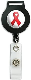 Red Awareness Ribbon Drug Free HIV AIDS Lanyard Retractable Reel Badge ID Card Holder