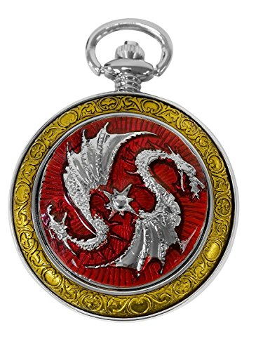 Celtic Dragon Pocket Watch Red with Chain Steampunk for Men and Women by ShoppeWatch PW-74