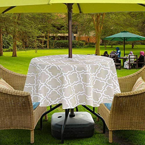 """Lamberia Outdoor Tablecloth with Umbrella Hole, 60 Inch Round Tablecloth, Spring/Summer Vinyl Table Cover for Picnic Garden(60"""" Round, Zippered, Khaki)"""