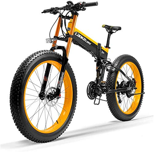RDJM Bciclette Elettriche, 1000W Fat Bici elettrica 48V 14.5Ah Mens Mountain E-Bike 27 Costi 26 Pollici Bicicletta su Strada Neve Bicicletta Pedali con Freni a Disco Idraulici