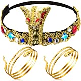 Hicarer 3 Pieces Egyptian Costume Accessories, Egyptian Cobra Headpiece with 2 Pieces Metal Snake Arm Cuffs Swirl Snake Bracelets Snake Upper Bracelets for Women Girls