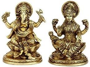 "K2F 44900 Brass Hindu Gods Goddess Ganesh Laxmi Pair Statue Idol Religious Figure 5"""