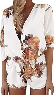 5f4f90ce4c Minetom Fashion Sommer Damen Jumpsuit Elegant Kurz Strand Bunt Blumenmuster  Overall Strampelhöschen