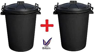 2 x Large 80/85L Litre Black Plastic Bin Rubbish Dustbin Animal Feed Storage
