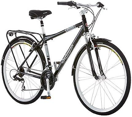 La bicicleta híbrida Schwinn Discover para hombres (neumáticos 700 C), negra