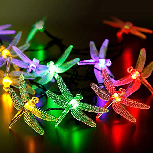 Battery Powered Dragonfly String Lights 20 LEDs Waterproof Lighting Garden Decor, Christmas Holiday Party Decoration